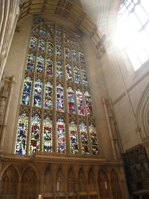 stained glass in Bath Abbey