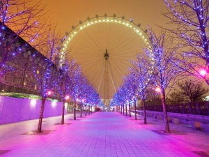 London Eye and Christmas Lights